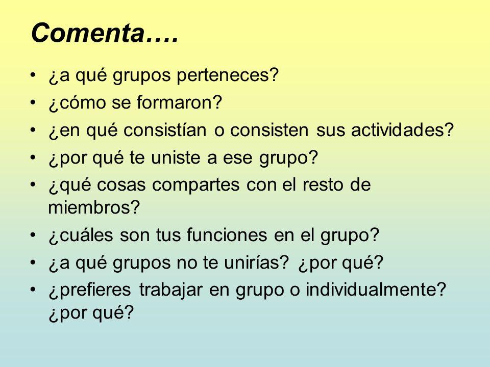Comenta…. ¿a qué grupos perteneces? ¿cómo se formaron? ¿en qué consistían o consisten sus actividades? ¿por qué te uniste a ese grupo? ¿qué cosas comp
