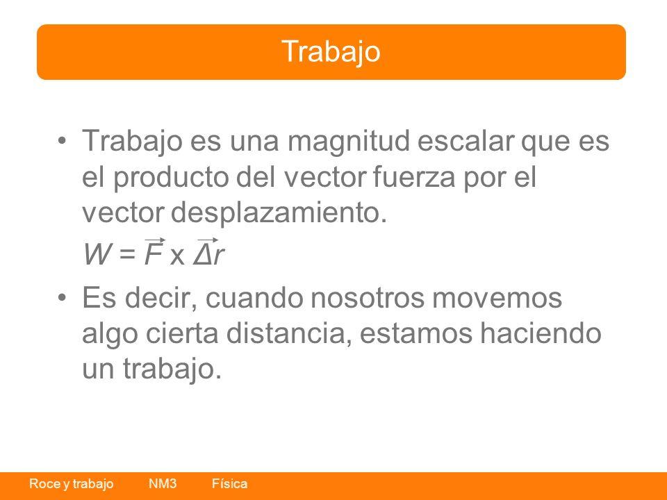Roce y trabajo NM3 Física Trabajo es una magnitud escalar que es el producto del vector fuerza por el vector desplazamiento. W = F x Δr Es decir, cuan