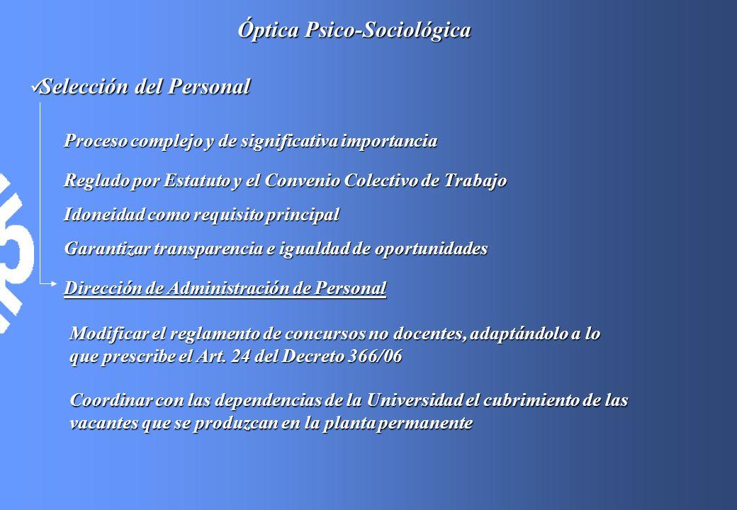 Óptica Psico-Sociológica Selección del Personal Selección del Personal Coordinar con las dependencias de la Universidad el cubrimiento de las vacantes