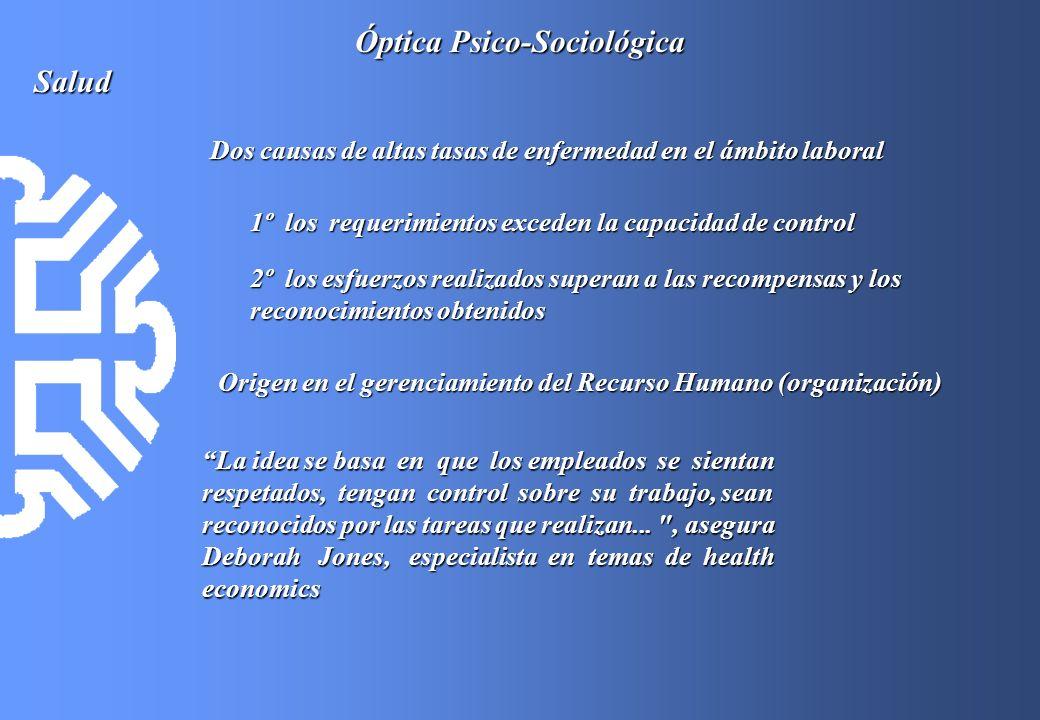 Óptica Psico-Sociológica Salud Dos causas de altas tasas de enfermedad en el ámbito laboral 1º los requerimientos exceden la capacidad de control 2º l