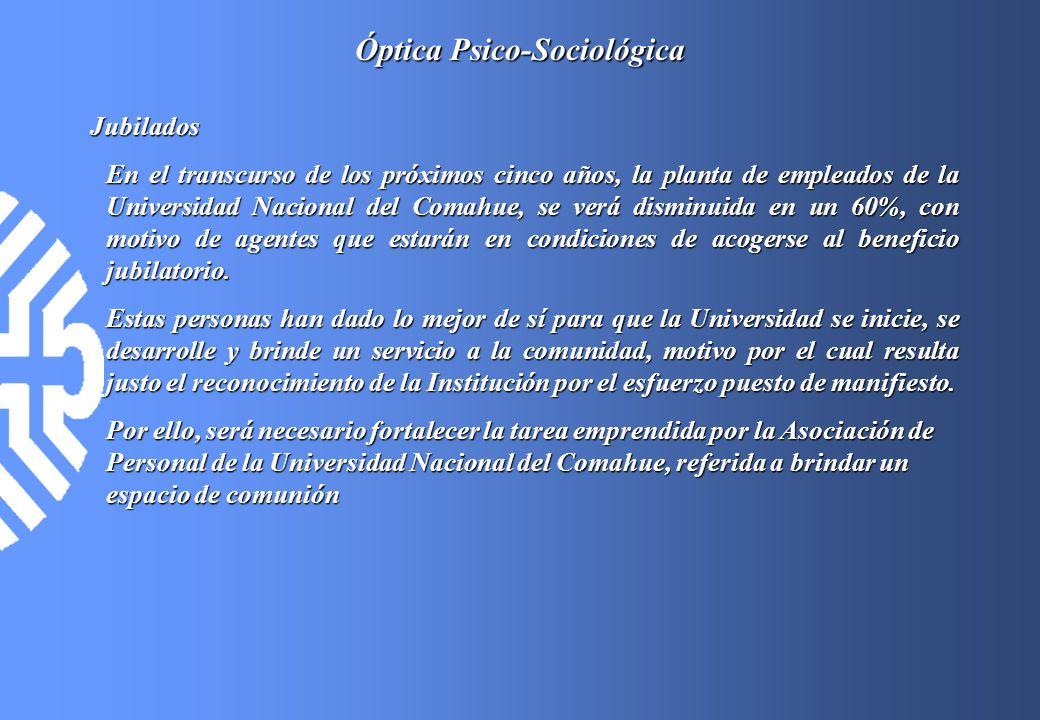 Óptica Psico-Sociológica Jubilados En el transcurso de los próximos cinco años, la planta de empleados de la Universidad Nacional del Comahue, se verá