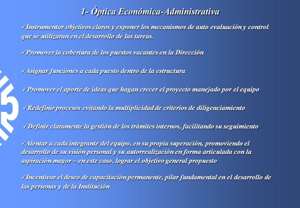 1- Óptica Económica-Administrativa Instrumentar objetivos claros y exponer los mecanismos de auto evaluación y control que se utilizaran en el desarro