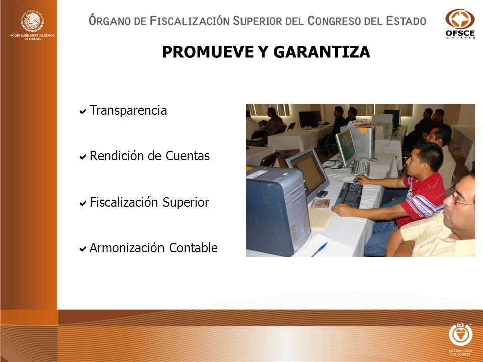 Transparencia Rendición de Cuentas Fiscalización Superior Armonización Contable PROMUEVE Y GARANTIZA
