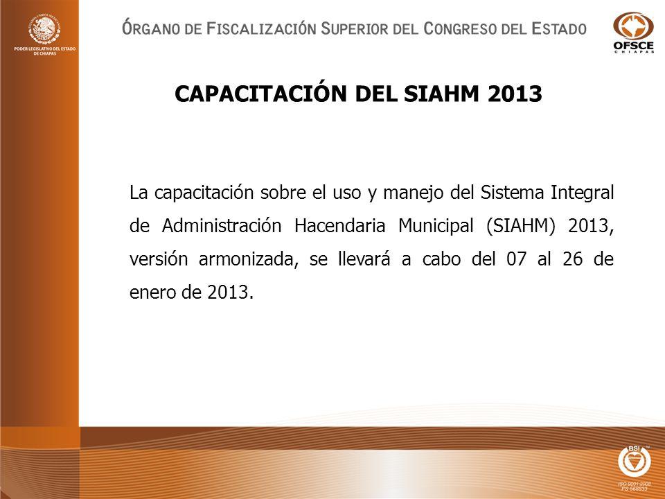 La capacitación sobre el uso y manejo del Sistema Integral de Administración Hacendaria Municipal (SIAHM) 2013, versión armonizada, se llevará a cabo del 07 al 26 de enero de 2013.