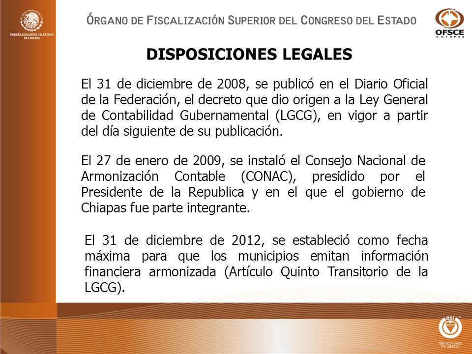 El 31 de diciembre de 2008, se publicó en el Diario Oficial de la Federación, el decreto que dio origen a la Ley General de Contabilidad Gubernamental (LGCG), en vigor a partir del día siguiente de su publicación.