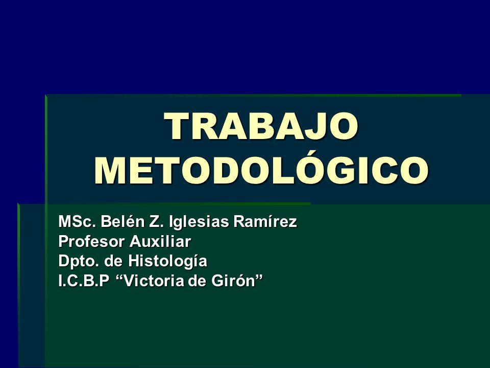 TRABAJO METODOLÓGICO MSc. Belén Z. Iglesias Ramírez Profesor Auxiliar Dpto. de Histología I.C.B.P Victoria de Girón