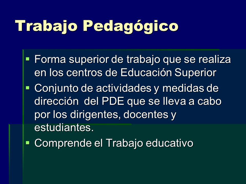Trabajo Pedagógico Forma superior de trabajo que se realiza en los centros de Educación Superior Forma superior de trabajo que se realiza en los centr