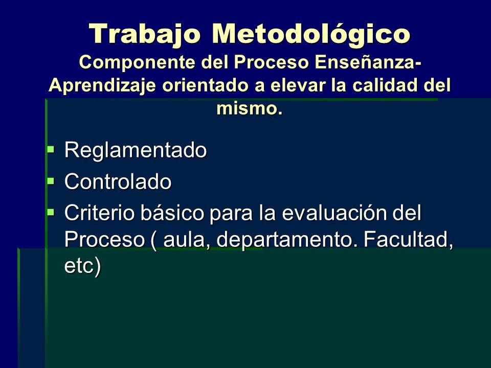 Trabajo Metodológico Componente del Proceso Enseñanza- Aprendizaje orientado a elevar la calidad del mismo. Reglamentado Reglamentado Controlado Contr