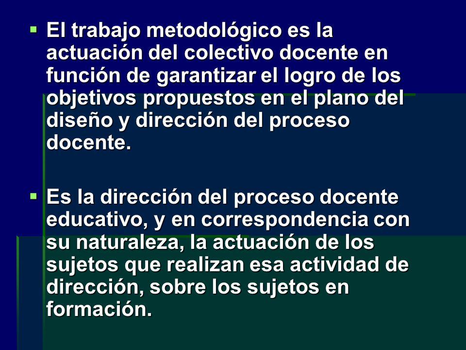 El trabajo metodológico es la actuación del colectivo docente en función de garantizar el logro de los objetivos propuestos en el plano del diseño y d