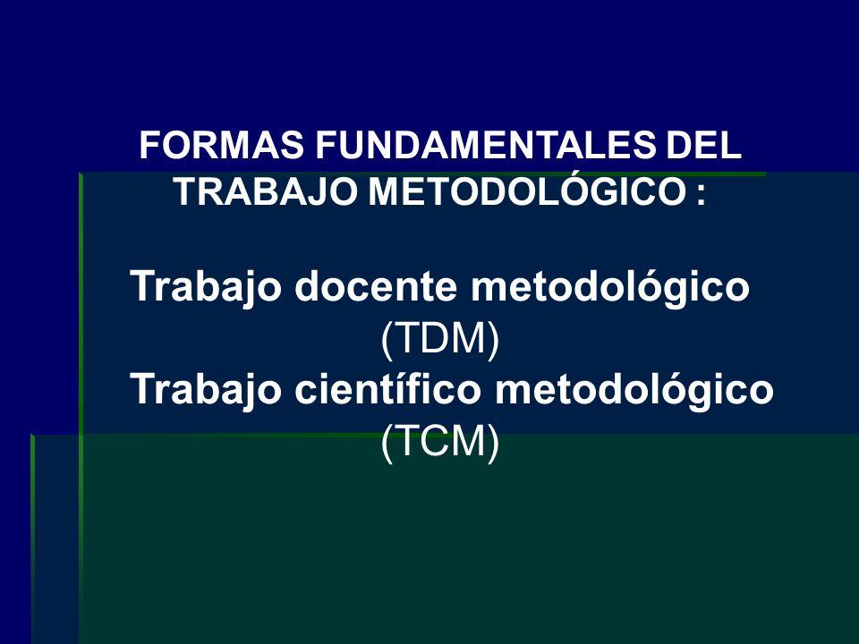 FORMAS FUNDAMENTALES DEL TRABAJO METODOLÓGICO : Trabajo docente metodológico (TDM) Trabajo científico metodológico (TCM)