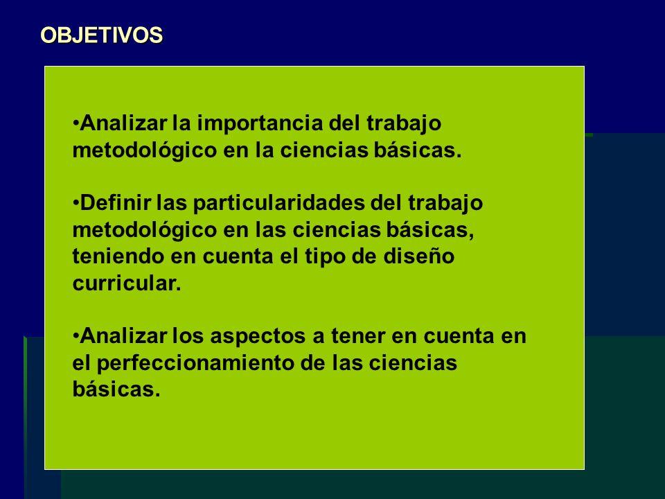 Analizar la importancia del trabajo metodológico en la ciencias básicas. Definir las particularidades del trabajo metodológico en las ciencias básicas