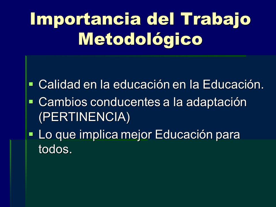 Importancia del Trabajo Metodológico Calidad en la educación en la Educación. Calidad en la educación en la Educación. Cambios conducentes a la adapta