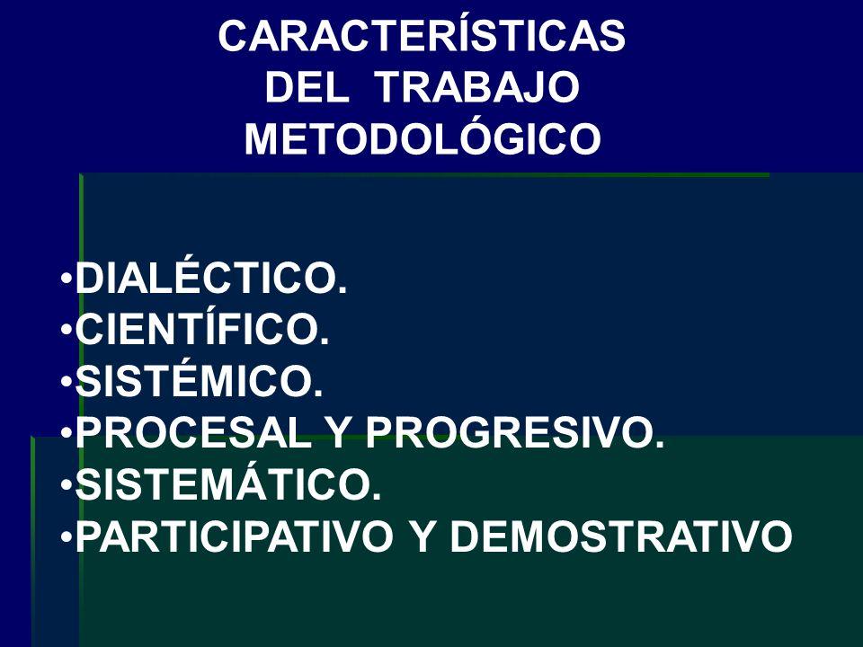 DIALÉCTICO. CIENTÍFICO. SISTÉMICO. PROCESAL Y PROGRESIVO. SISTEMÁTICO. PARTICIPATIVO Y DEMOSTRATIVO CARACTERÍSTICAS DEL TRABAJO METODOLÓGICO