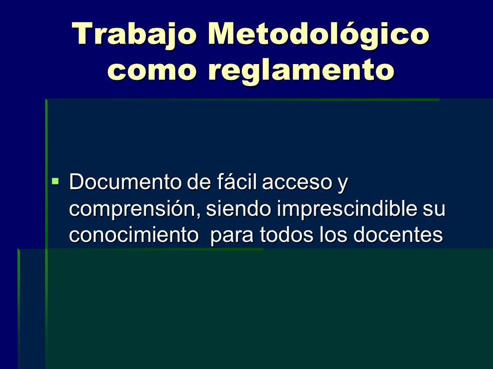 Trabajo Metodológico como reglamento Documento de fácil acceso y comprensión, siendo imprescindible su conocimiento para todos los docentes Documento