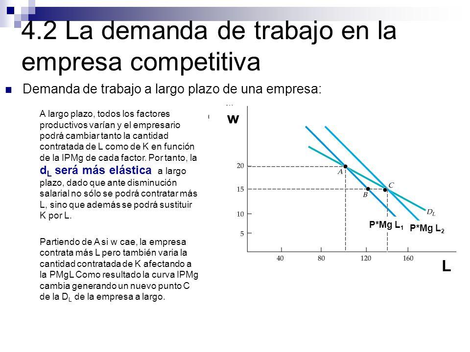 A largo plazo, todos los factores productivos varían y el empresario podrá cambiar tanto la cantidad contratada de L como de K en función de la IPMg d