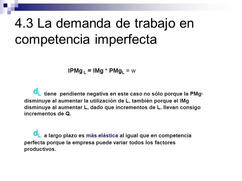 4.3 La demanda de trabajo en competencia imperfecta IPMg L = IMg * PMg L = w d L tiene pendiente negativa en este caso no sólo porque la PMg L disminu
