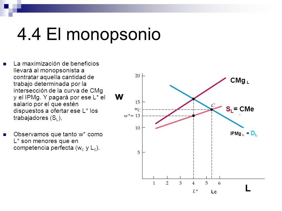 4.4 El monopsonio IPMg L = D L CMg L S L = CMe w L La maximización de beneficios llevará al monopsonista a contratar aquella cantidad de trabajo deter