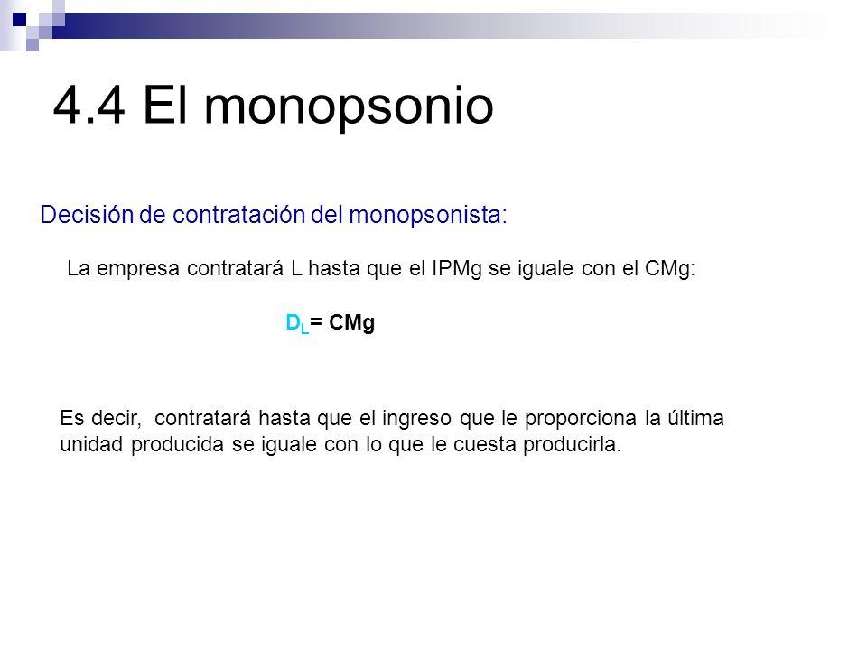 Decisión de contratación del monopsonista: La empresa contratará L hasta que el IPMg se iguale con el CMg: Es decir, contratará hasta que el ingreso q