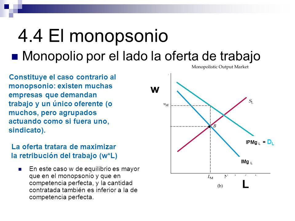 Monopolio por el lado la oferta de trabajo w L Constituye el caso contrario al monopsonio: existen muchas empresas que demandan trabajo y un único ofe