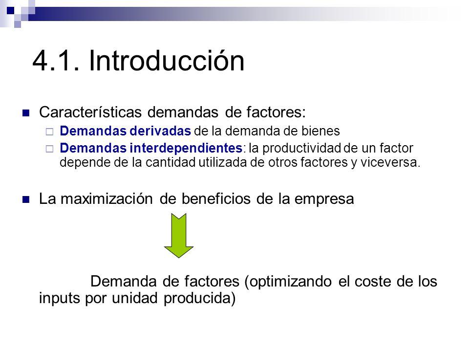4.1. Introducción Características demandas de factores: Demandas derivadas de la demanda de bienes Demandas interdependientes: la productividad de un
