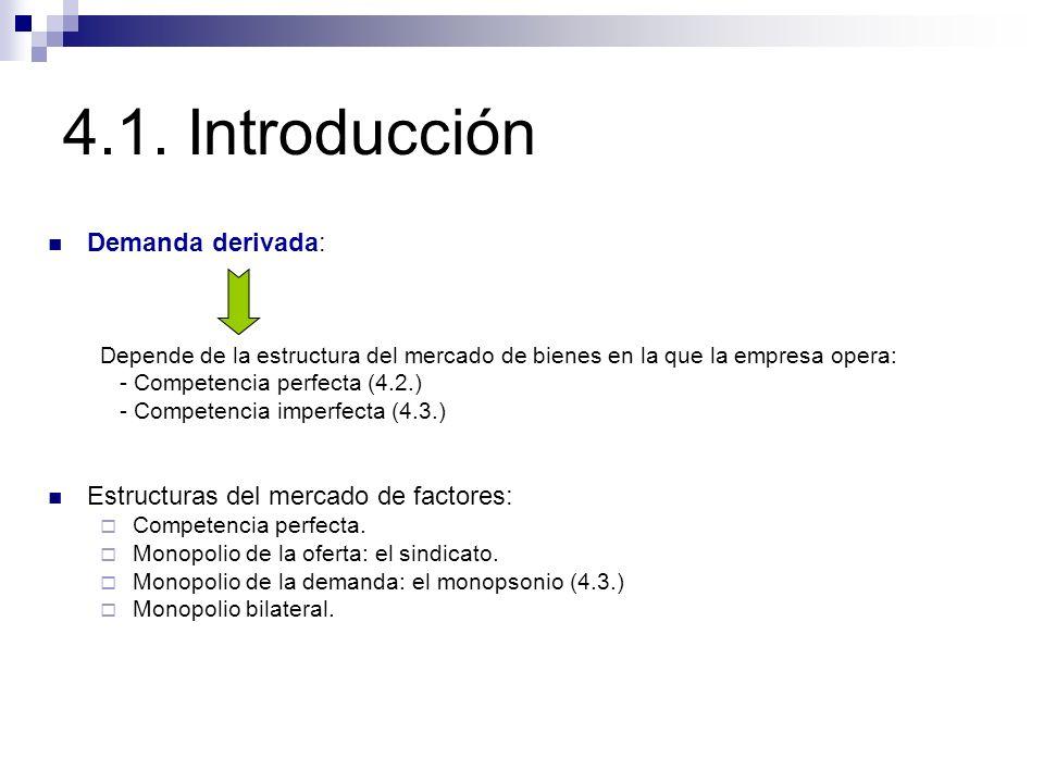 4.1. Introducción Demanda derivada: Depende de la estructura del mercado de bienes en la que la empresa opera: - Competencia perfecta (4.2.) - Compete