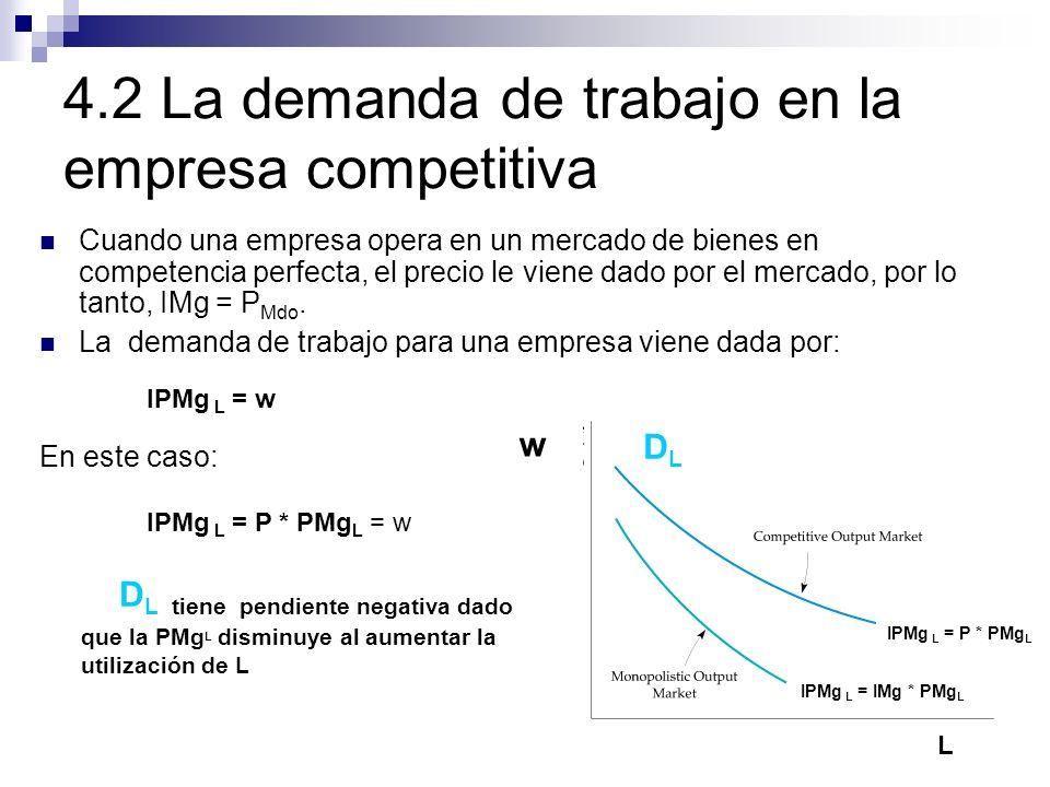 4.2 La demanda de trabajo en la empresa competitiva Cuando una empresa opera en un mercado de bienes en competencia perfecta, el precio le viene dado