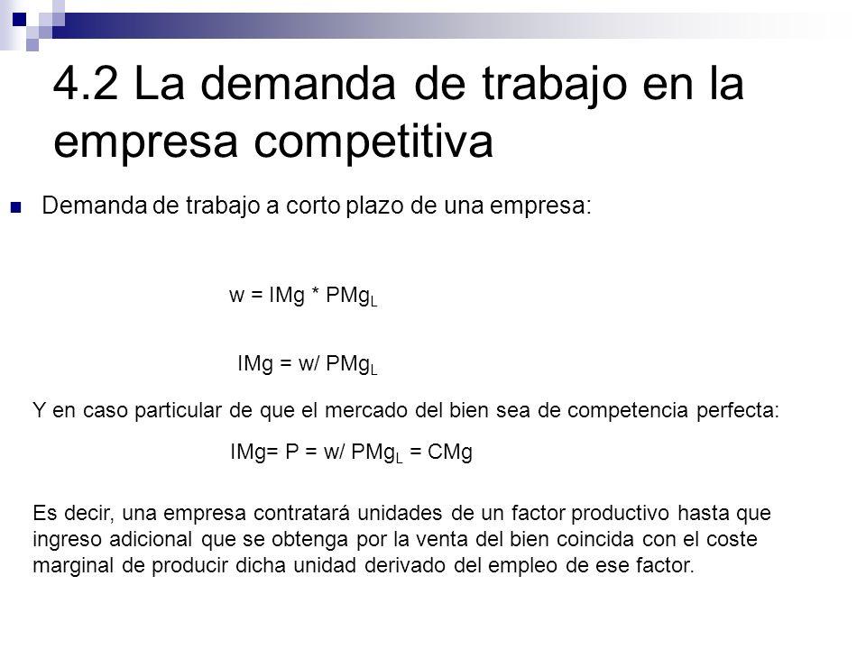 4.2 La demanda de trabajo en la empresa competitiva Demanda de trabajo a corto plazo de una empresa: w = IMg * PMg L IMg = w/ PMg L IMg= P = w/ PMg L