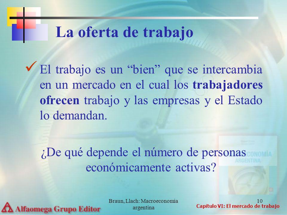 Braun, Llach: Macroeconomia argentina 10 El trabajo es un bien que se intercambia en un mercado en el cual los trabajadores ofrecen trabajo y las empr