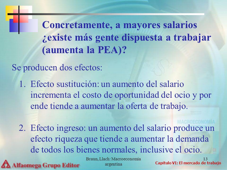 Braun, Llach: Macroeconomia argentina 13 Se producen dos efectos: 1.Efecto sustitución: un aumento del salario incrementa el costo de oportunidad del