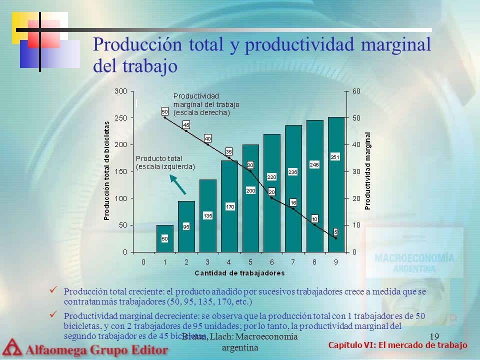 Braun, Llach: Macroeconomia argentina 19 Producción total creciente: el producto añadido por sucesivos trabajadores crece a medida que se contratan má