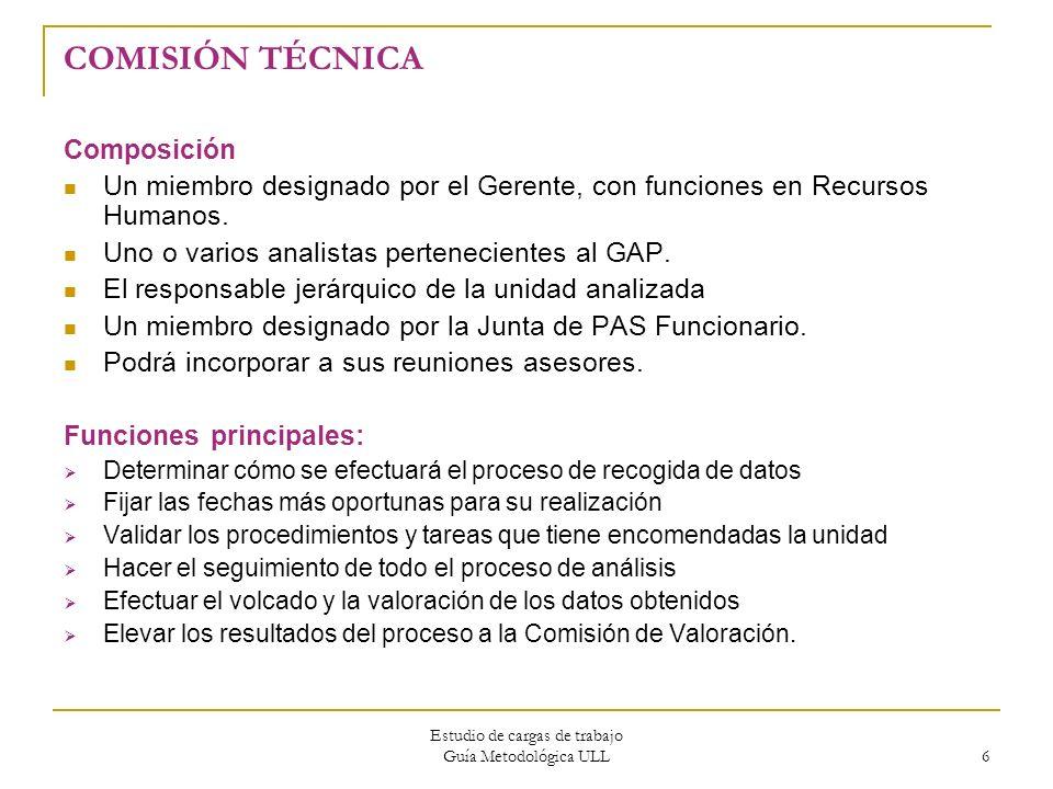Estudio de cargas de trabajo Guía Metodológica ULL 6 COMISIÓN TÉCNICA Composición Un miembro designado por el Gerente, con funciones en Recursos Human