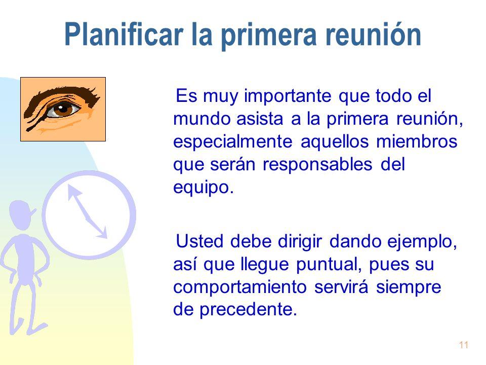 11 Planificar la primera reunión Es muy importante que todo el mundo asista a la primera reunión, especialmente aquellos miembros que serán responsabl