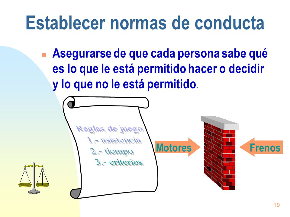 19 Establecer normas de conducta n Asegurarse de que cada persona sabe qué es lo que le está permitido hacer o decidir y lo que no le está permitido.