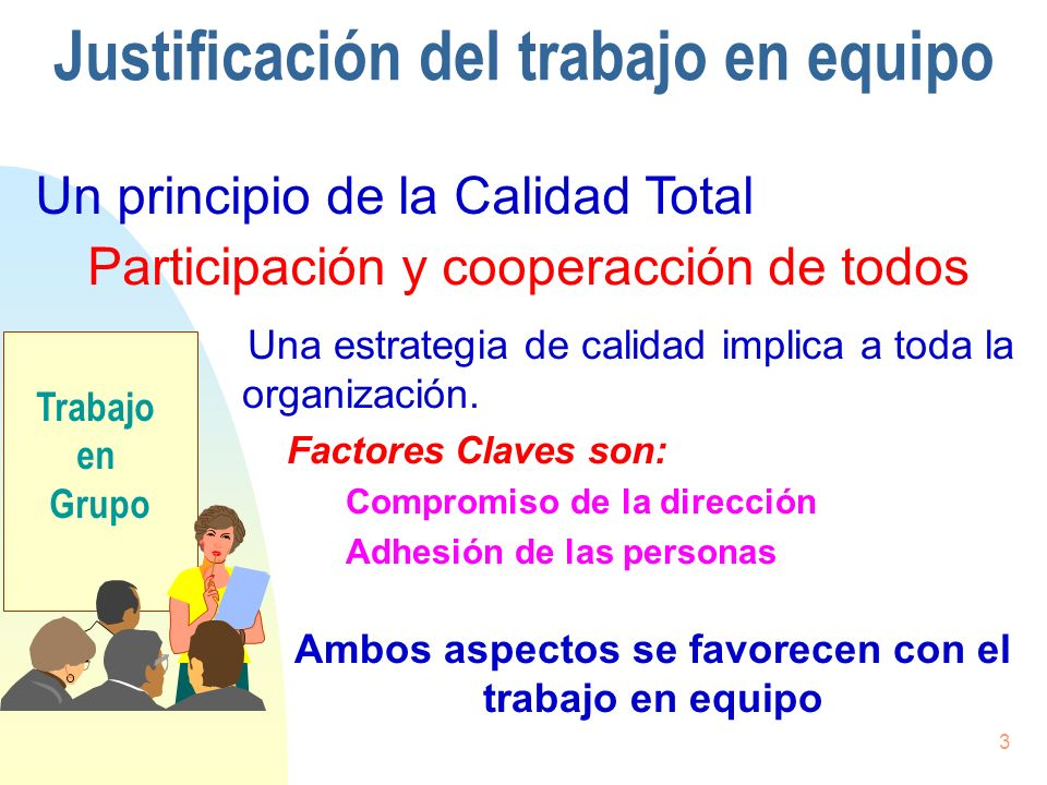 3 Justificación del trabajo en equipo Una estrategia de calidad implica a toda la organización. Factores Claves son: Compromiso de la dirección Adhesi
