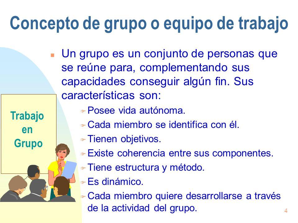 4 Concepto de grupo o equipo de trabajo n Un grupo es un conjunto de personas que se reúne para, complementando sus capacidades conseguir algún fin. S