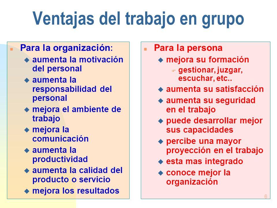 6 Ventajas del trabajo en grupo n Para la organización : u aumenta la motivación del personal u aumenta la responsabilidad del personal u mejora el am