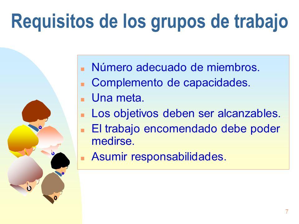 7 Requisitos de los grupos de trabajo n Número adecuado de miembros. n Complemento de capacidades. n Una meta. n Los objetivos deben ser alcanzables.