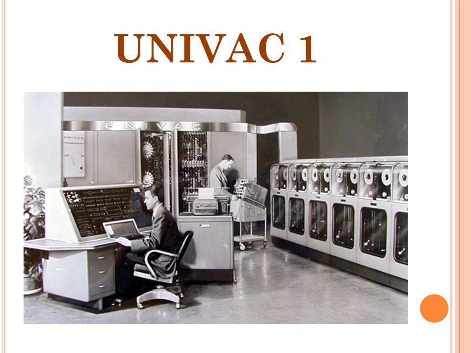 GENERACION DE LAS COMPUTADORAS. 1946-1957 UNIVAC I Viene a marcar la primera generación de computadora electrónicas que se caracterizan por emplear el