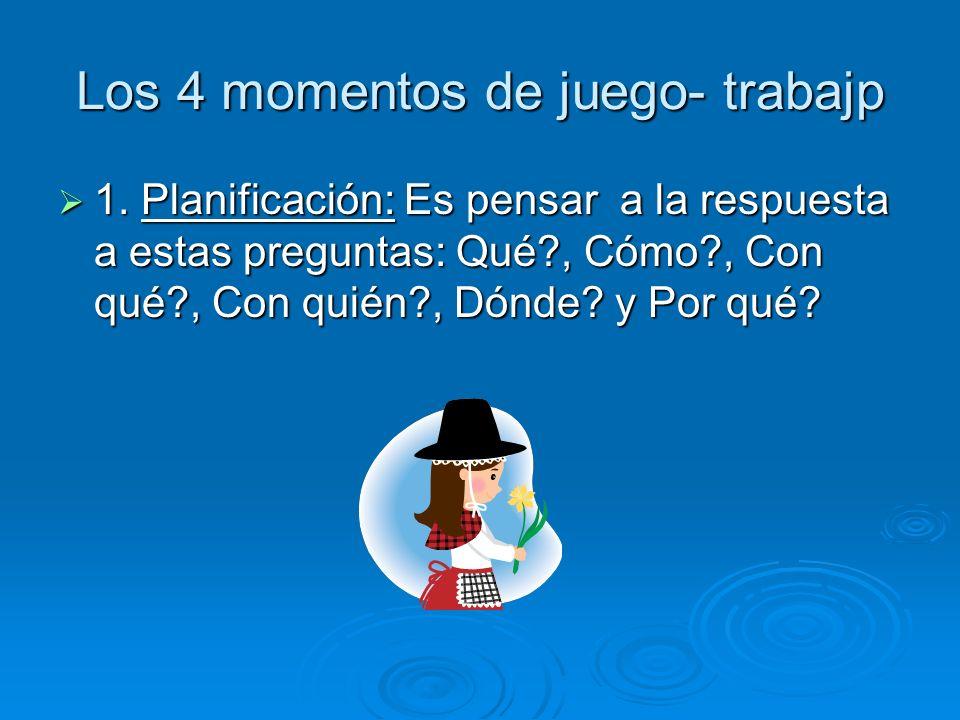 Los 4 momentos de juego- trabajp 1. Planificación: Es pensar a la respuesta a estas preguntas: Qué?, Cómo?, Con qué?, Con quién?, Dónde? y Por qué? 1.