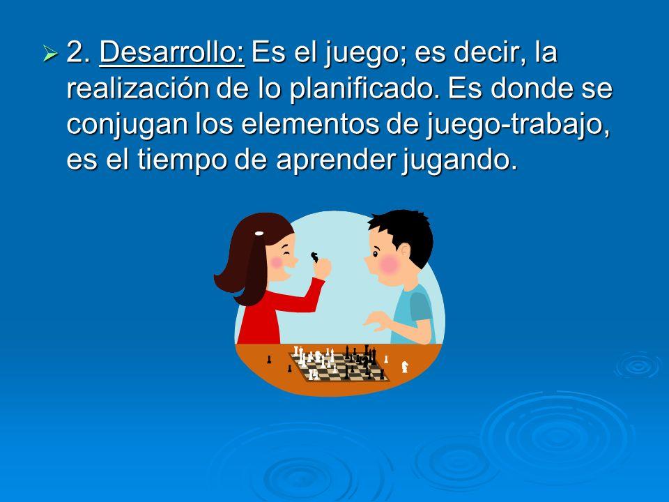 2. Desarrollo: Es el juego; es decir, la realización de lo planificado. Es donde se conjugan los elementos de juego-trabajo, es el tiempo de aprender