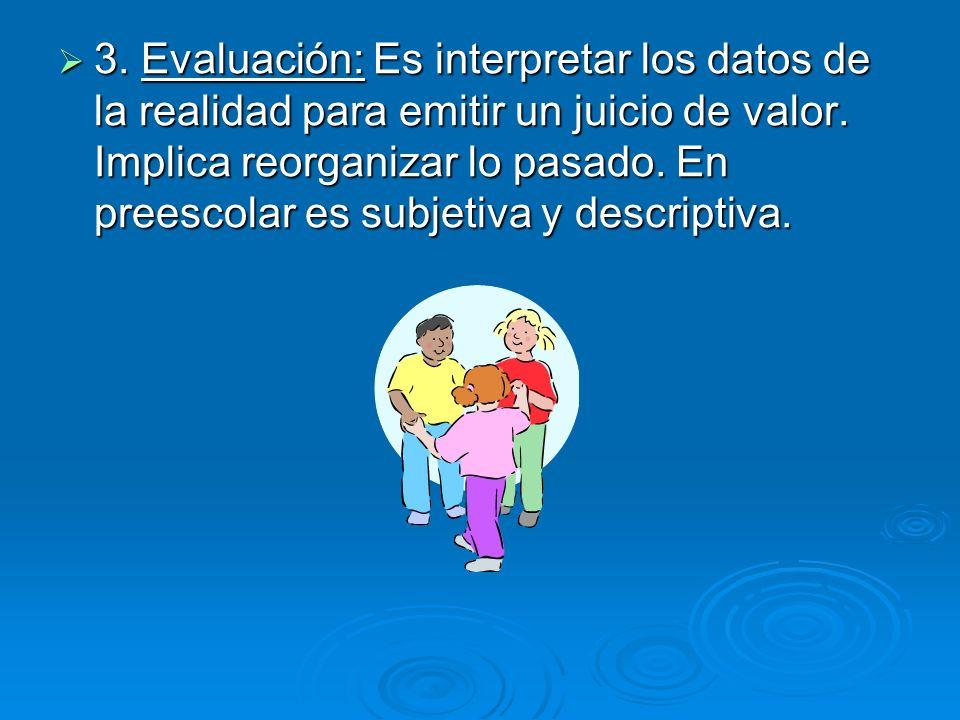 3. Evaluación: Es interpretar los datos de la realidad para emitir un juicio de valor. Implica reorganizar lo pasado. En preescolar es subjetiva y des
