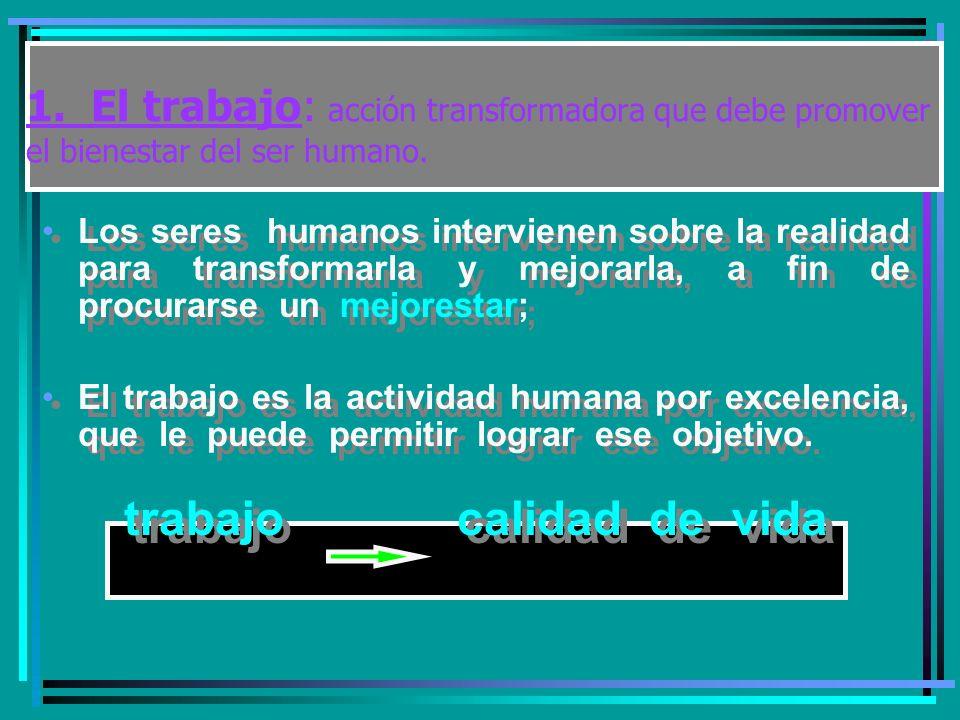 1.El trabajo: acción transformadora que debe promover el bienestar del ser humano.