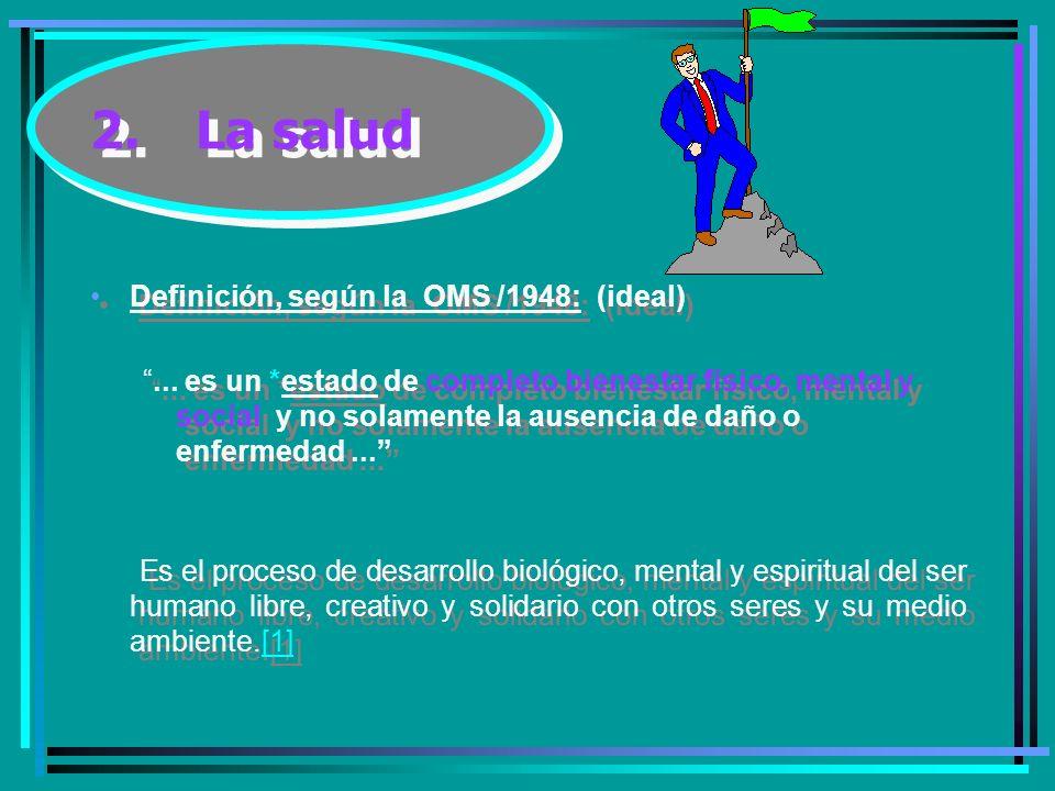 2.La salud Definición, según la OMS /1948: (ideal)...