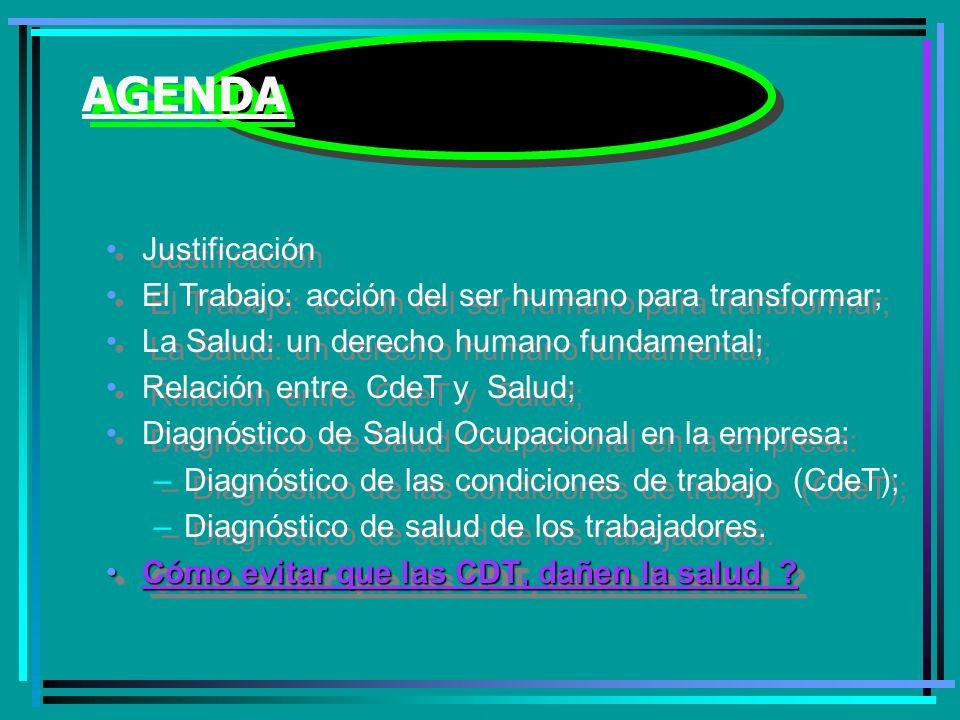 AGENDA Justificación El Trabajo: acción del ser humano para transformar; La Salud: un derecho humano fundamental; Relación entre CdeT y Salud; Diagnóstico de Salud Ocupacional en la empresa: –Diagnóstico de las condiciones de trabajo (CdeT); –Diagnóstico de salud de los trabajadores.