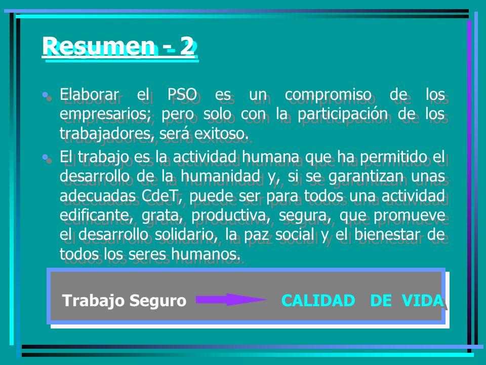 Resumen - 2 Elaborar el PSO es un compromiso de los empresarios; pero solo con la participación de los trabajadores, será exitoso.