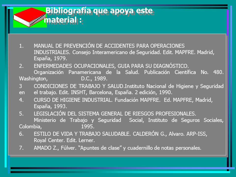 Bibliografía que apoya este material : 1.MANUAL DE PREVENCIÓN DE ACCIDENTES PARA OPERACIONES INDUSTRIALES.