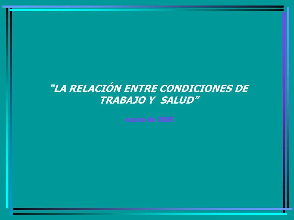 LA RELACIÓN ENTRE CONDICIONES DE TRABAJO Y SALUD marzo de 2005
