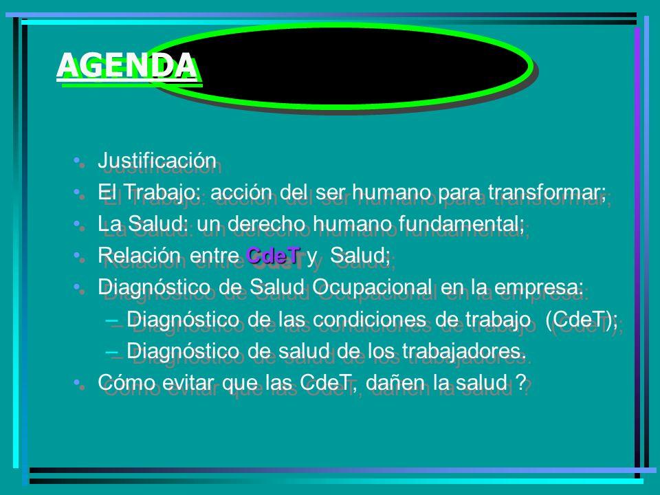 AGENDA Justificación El Trabajo: acción del ser humano para transformar; La Salud: un derecho humano fundamental; CdeTRelación entre CdeT y Salud; Diagnóstico de Salud Ocupacional en la empresa: –Diagnóstico de las condiciones de trabajo (CdeT); –Diagnóstico de salud de los trabajadores.