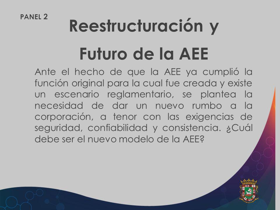 PANEL 2 Reestructuración y Futuro de la AEE Ante el hecho de que la AEE ya cumplió la función original para la cual fue creada y existe un escenario r