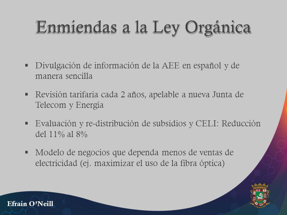 Enmiendas a la Ley Orgánica Divulgación de información de la AEE en español y de manera sencilla Revisión tarifaria cada 2 años, apelable a nueva Junt